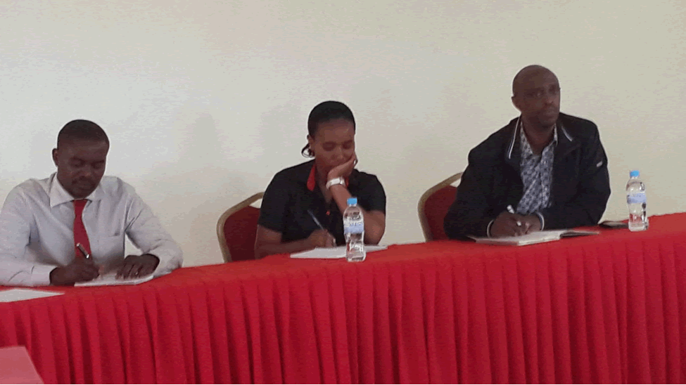 During an open discussion on crop and livestock insurance. From left to right: SONARWA Representative, UAP Representative, RDO Executive Secretary